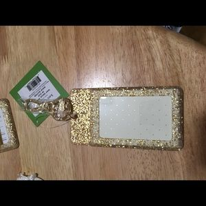 Kate spade gold glitter id clip new with tags